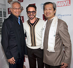 Dr. Daoshing Ni and Dr. Mao Shing Ni with Robert Downey Jr.