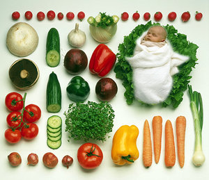 baby and vegetable - Copyright – Stock Photo / Register Mark